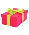 Roze cadeaudoosje 17 cm met lichtgroene strik