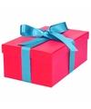 Roze cadeaudoosje 19 cm met lichtblauwe strik