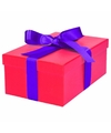 Roze cadeaudoosje 19 cm met paarse strik