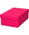 Roze cadeaudoosje 19 cm rechthoekig