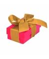 Roze cadeaudoosje 8 cm met gouden strik