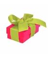 Roze cadeaudoosje 8 cm met lichtgroene strik