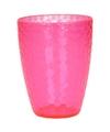 Roze drinkglas gehamerd 350 ml helder kunststof