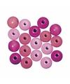 Roze gekleurde houten kralen 4 mm