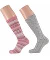 Roze grijze dames huissokken 2 paar