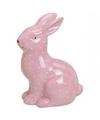 Roze haas konijn dierenbeeldje 15 cm