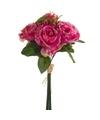 Roze rozen kunstbloemen boeket 30 cm