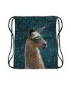 Rugtas met rijgkoord en alpaca lama met zonnebril print