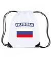 Rusland nylon rugzak wit met russische vlag