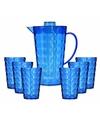 Schenkkan met 6 bekers van helder blauw plastic