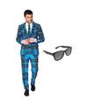 Schotse print heren kostuum maat 54 xxl met gratis zonnebril