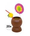 Set van 20x hawaii tropische party kokosnoot drinkbekers