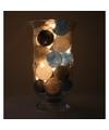 Sfeerverlichting blauwe grijze en witte balletjes in vaas