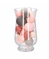 Sfeerverlichting perfect combi roze grijze balletjes in vaas