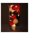 Sfeerverlichting rode witte en groene balletjes in vaas