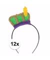 Sinterklaas 12 x pieten diadeem met groen baretje voor kinderen