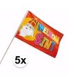 Sinterklaas 5x luxe welkom sinterklaas zwaaivlaggetje 30 x 45 cm