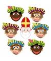 Sinterklaas 6x zwarte pieten sinterklaas maskers setje
