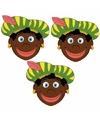 Sinterklaas zwarte pieten maskers setje 3 stuks