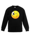 Smiley sweater knipoog zwart kinderen