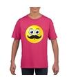 Smiley t shirt snor roze kinderen