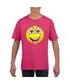 Smiley t shirt super verliefd roze kinderen
