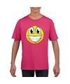 Smiley t shirt super vrolijk roze kinderen