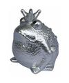 Spaarpot kikker koning zilver 18 cm type 3