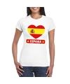 Spanje hart vlag t shirt wit dames