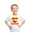 Spanje hart vlag t shirt wit jongens en meisjes