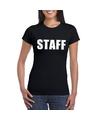 Staff tekst t shirt zwart dames