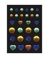 Stickers met blauwe groene en gele strass steentjes