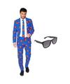 Superman heren kostuum maat 56 xxxl met gratis zonnebril