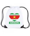 Suriname hart vlag nylon rugzak wit