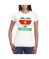 Suriname hart vlag t shirt wit dames