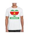 Suriname hart vlag t shirt wit heren