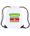 Suriname nylon rugzak wit met surinaamse vlag