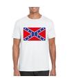 T shirt met amerikaanse zuidelijke staten vlag wit heren