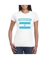 T shirt met argentijnse vlag wit dames