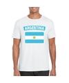 T shirt met argentijnse vlag wit heren