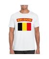 T shirt met belgische vlag wit heren
