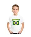 T shirt met braziliaanse vlag wit kinderen