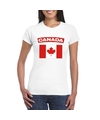 T shirt met canadese vlag wit dames
