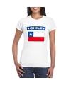 T shirt met chileense vlag wit dames