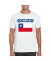 T shirt met chileense vlag wit heren