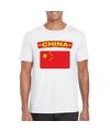 T shirt met chinese vlag wit heren