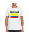 T shirt met colombiaanse vlag wit heren