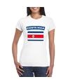T shirt met costa ricaanse vlag wit dames