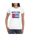 T shirt met cubaanse vlag wit dames