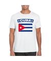 T shirt met cubaanse vlag wit heren